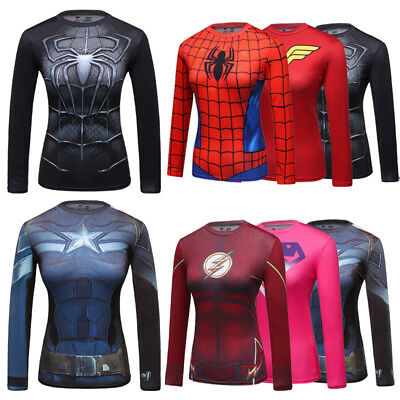 Women's Compression Gym Marvel Superhero Tops Sport Bicycle Jersey T-Shirt A09