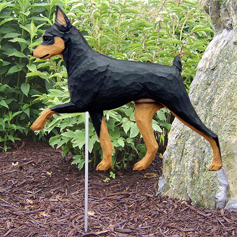 Mini Pinscher Outdoor Garden Dog Sign Hand Painted Figure Black/Tan
