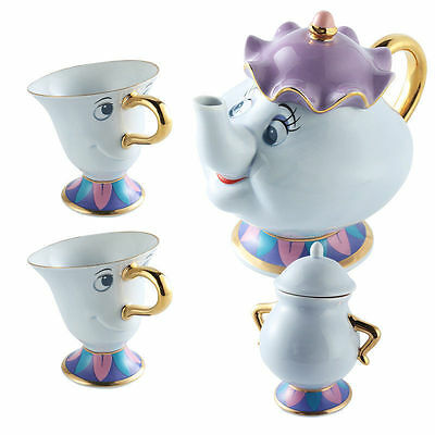 Hot Beauty And The Beast Teapot Cartoon Mug Mrs Potts Chip Tea Pot Cup Set Gift