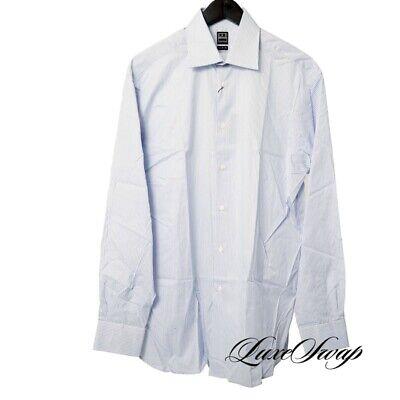 NWT Ike Behar Super 120s 2 Ply Sky Blue Striped Button Down Dress Shirt 15.5 NR