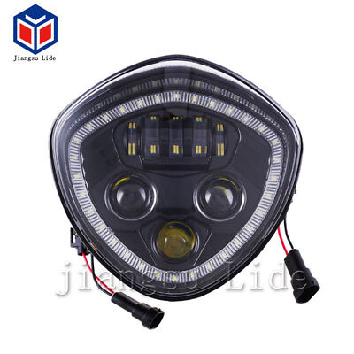 Black LED Headlight with Angel Eye Halo For Victory Cross Country/Roads Cruisers