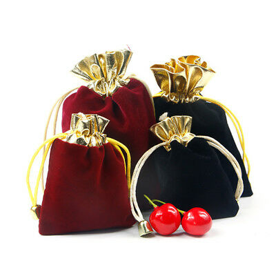 10/30/50pcs Velvet Gold Sack Drawstring Jewelry Pouch Gift Bags Wedding Party - Gift Sack