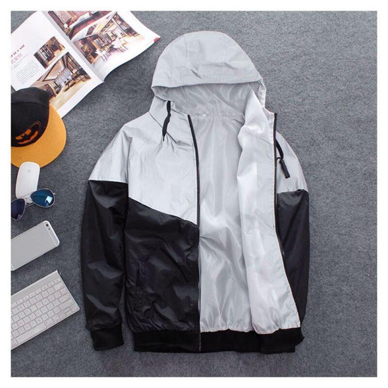 Details about Hip Hop Men's Reflective Jacket Hoodie Hooded Biker Dance Coat Windbreaker