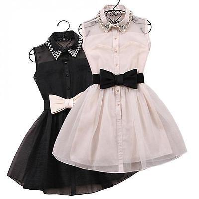 Fashion Women Vestido  Pearl  Sleeveless Bow Belt Party Dress Ball Gown Dress