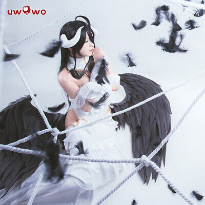 UWOWO Anime Overlord Albedo Cosplay Costume Women Halloween White Full Dress