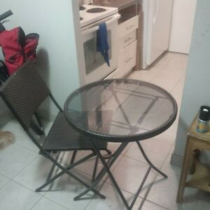 glass table with chair