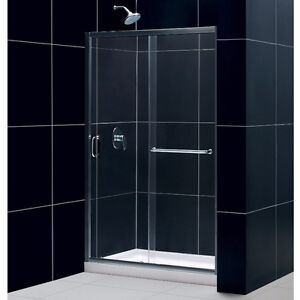 44 to 48-Inch Frameless Sliding Shower Door, Clear 1/4-Inch Glas