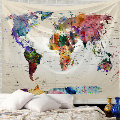 Vintage World Map Mandala Tapestry Wall Hanging Bedspread Beach Towel Dorm Decor