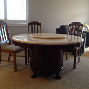 Marble Dining Table w/ lazy Susan