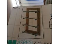 Stylish NEXT Aspen Oak & Chrome Towel Storage - Brand New in Box - Waterloville
