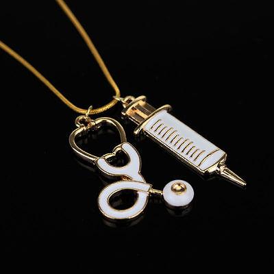 New Gold RN Nursing Necklace Stethoscope Syringe Needle Nurse Graduation Gift (Nurse Graduation Gifts)