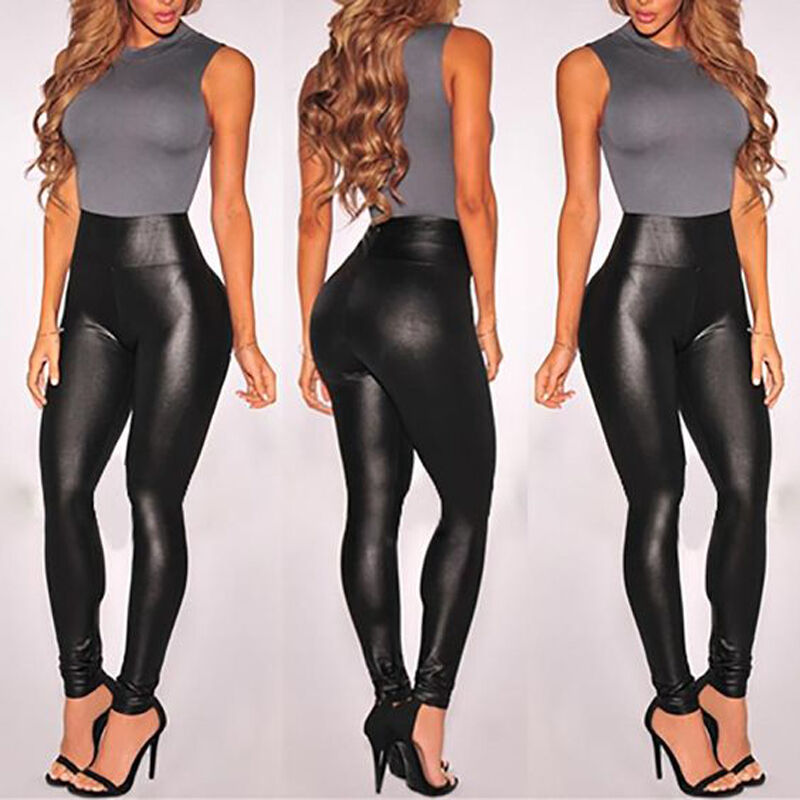 Women's High Waisted Faux Leather Leggings Stretch Pants Jeg