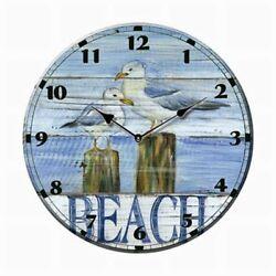CERAMIC SEAGULL SEA BIRDS BEACH WALL CLOCK Gull Coastal Nautical Decor
