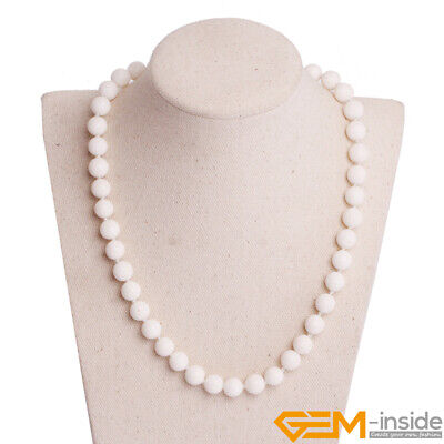 Natural White Sponge Coral Beaded Stone Healing Long Necklace Christmas Gift YB White Sponge Coral