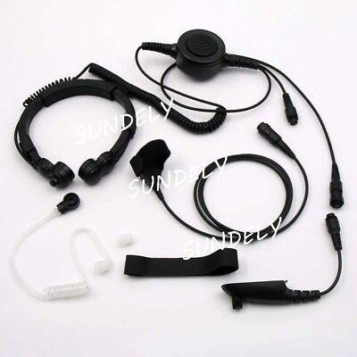 Military Tactical Throat Mic Headset/Earpiece For Motorola Radio HT750 HT1250 US