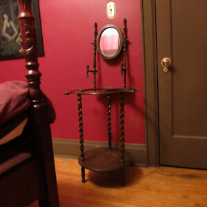 ANTIQUE WOODEN WASH BASIN STAND WITH MIRROR & CANDLESTICK HOLDER