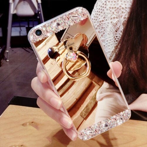 Luxury Mirror Back Case Diamonds Ring Holder Stand Phone Cover For Samsung S7 S8