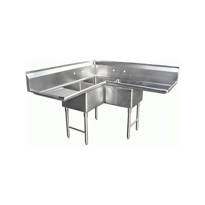 "3 Compartment Corner S/S Sink 18""x18"" 2 Drainboards"