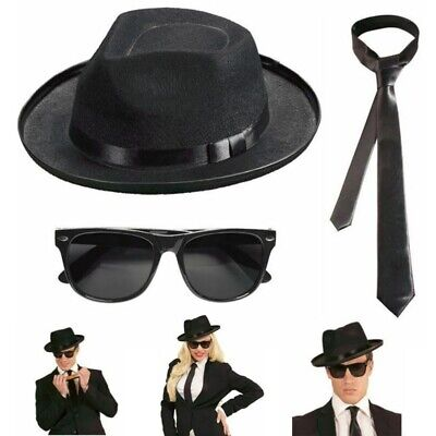 Blues Brothers Hut & Brille & Krawatte schwarz Gangster Mafia Fasching Karneval