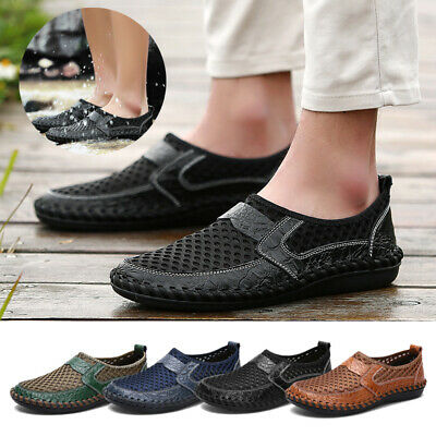 Mesh Men Sneakers - Men's Big Size Breathable Mesh Slip On Water Shoes Casual Soft Walking Sneakers