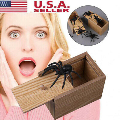 Funny Scare Box Fake Centipede/Mouse/Spider Hidden in Case Prank-Wooden Scarebox](Halloween Spider Font)