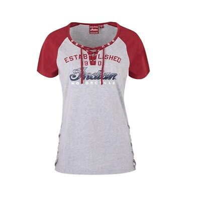 Indian Motorcycle Women's Laced Up T-Shirt - Gray - XL