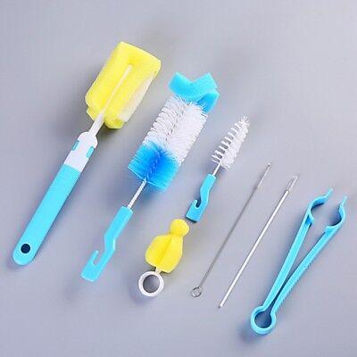 7PC Baby Feeding Bottle Brush Sponge Cleaner Straw Nipple Cl