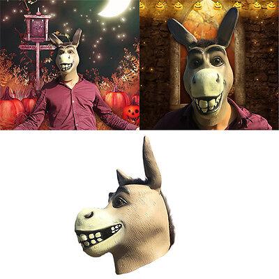 Donkey Head (Cosplay Mask Adorable Funny Shrek Donkey Latex Full Cover Head Costume Party)