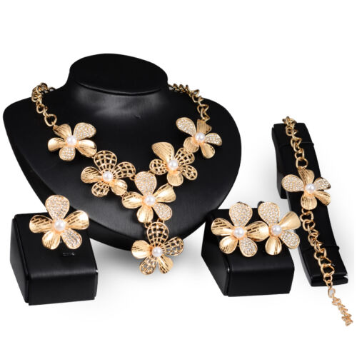 2040b6ccde89f African Costume Necklace Set Party 18k Gold Plated Flower Pearl ...