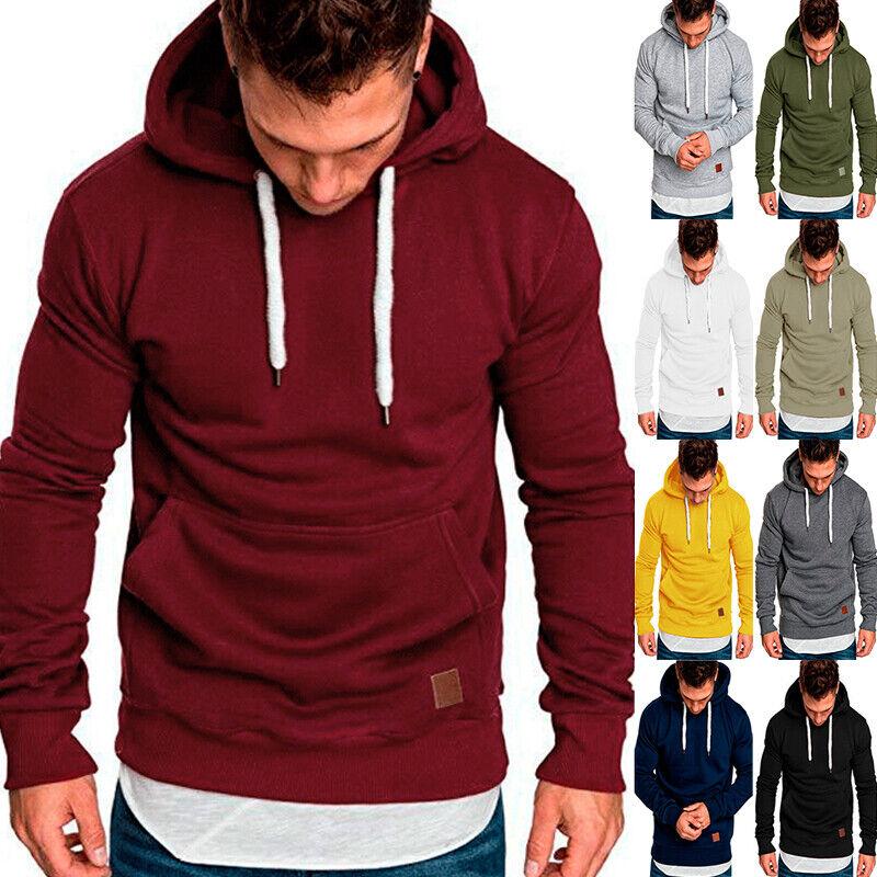 Men Long Sleeve Hoodie Casual Hooded Pocket Sweatshirts Pull