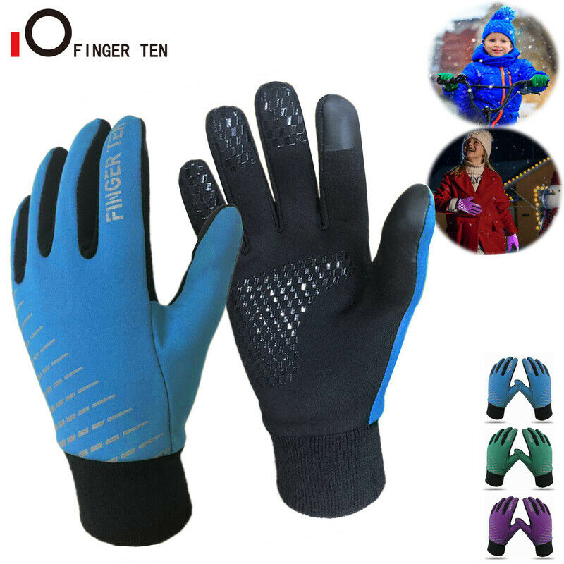 Thermal Soft Warm Kids Winter Gloves Windproof Running Cycling for Boys Girls