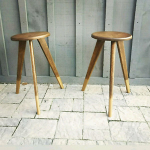 Mid-Century Modern Gold Foot Oak Kitchen Stools