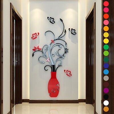 - DIY 3D Vase Flower Crystal Arcylic Wall Stickers Decal Home Bedroom Decorations