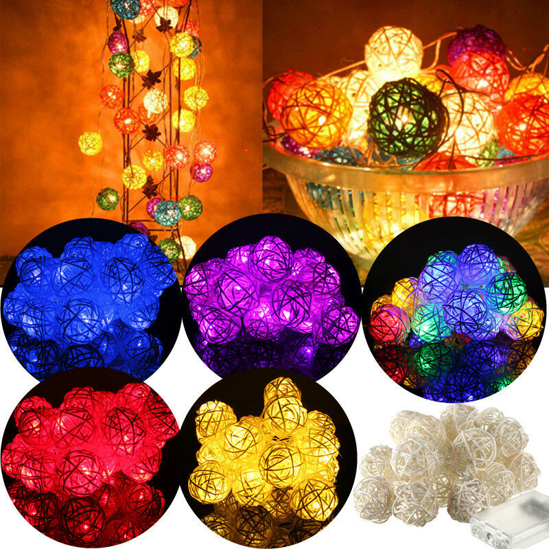 3M 20 LED Rattan Ball String Lights Home Garden Fairy Lamp Party Xmas Decoration