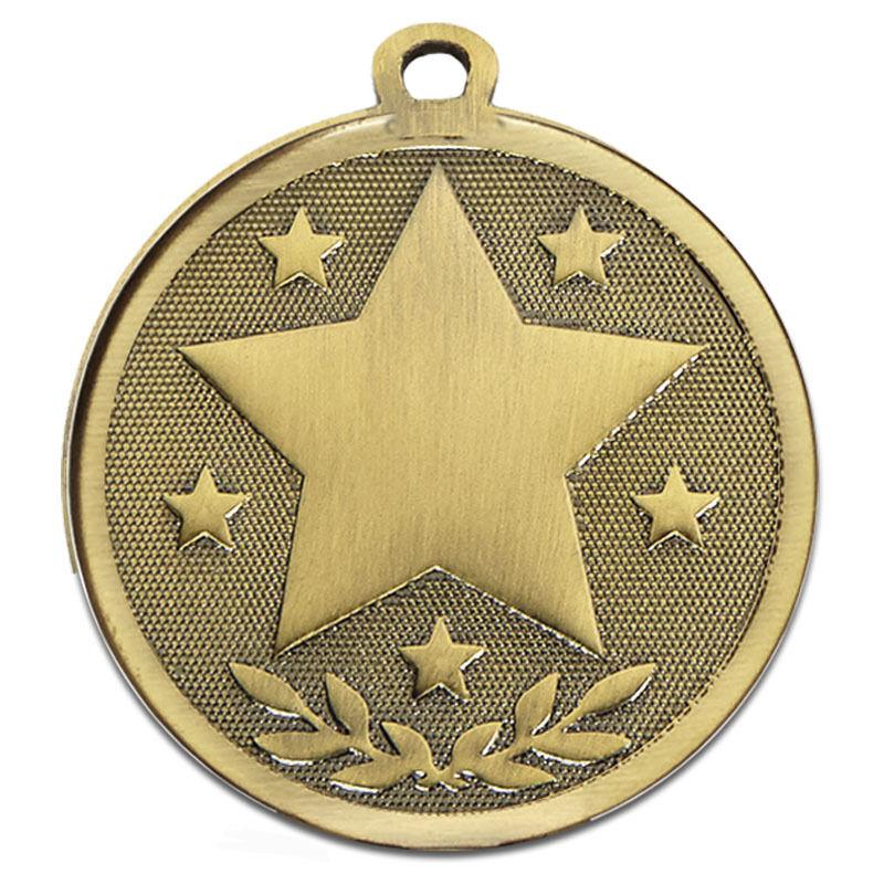 La fréquentation Star médailles en métal argent or bronze libre Ruban /& FREE P/&P am1026.12
