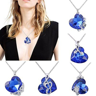 Heart Love Sapphire Butterfly Crystal Pendant Necklace Women Gift Jewelry+Box Crystal Butterfly Gift Box