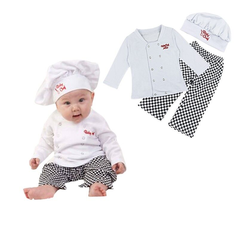 62d7aa10de10d Baby Boys Cook Chef Outfit Shirts Pants Hat Party Fancy Costume ...