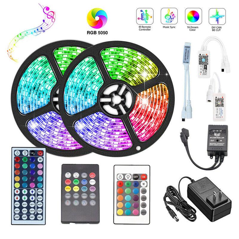 1M 5M 10M 5050 RGB LED Strip Lights Flexible+WiFi Bluetooth