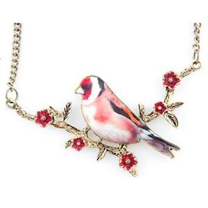 Vintage Feel Beautiful Bird/Swallow on Flower Branch Necklace