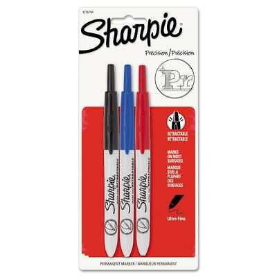 Sharpie Retractable Permanent Marker Ultra Fine Tip Black Blu 071641338289