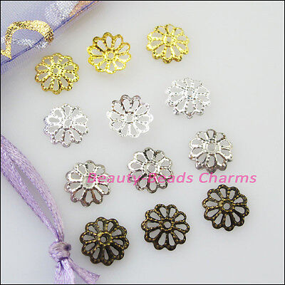200Pcs Flower End Bead Caps Connectors 8mm Gold Dull Silver Bronze Plated