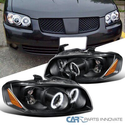 For Nissan 04-06 Sentra Black LED Halo Projector Headlights Head Lights Lamps