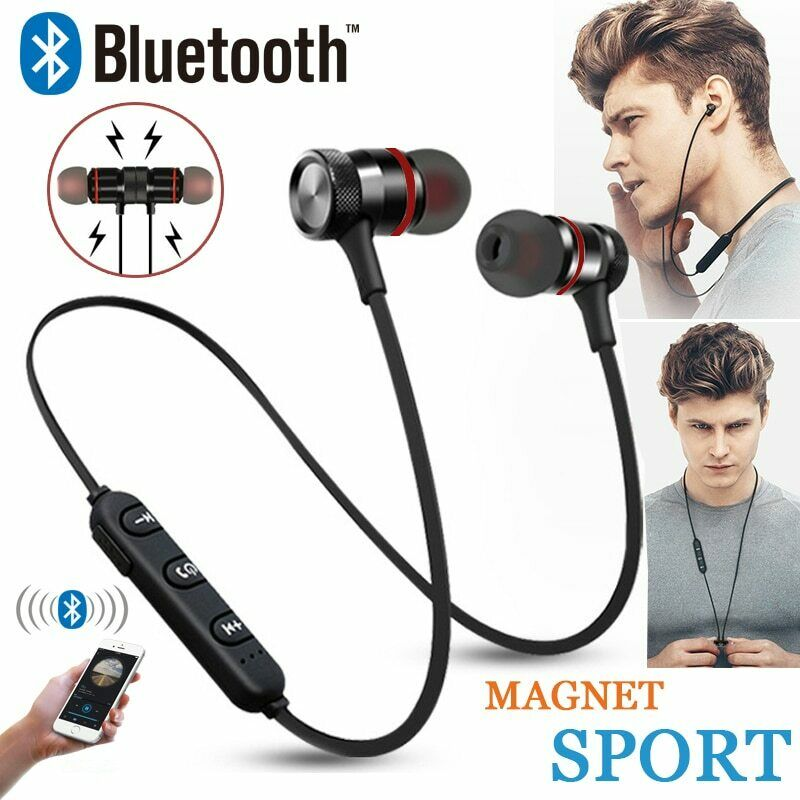Bluetooth Wireless Headphones Magnetic Sports Gym Running Wa