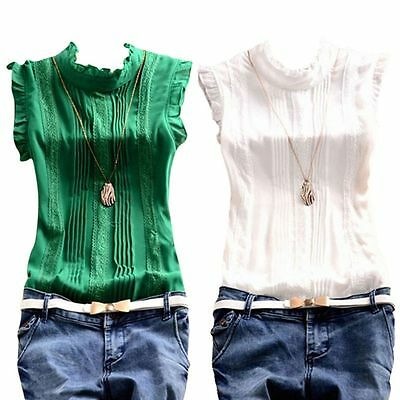 Fashion Women's Sleeveless Blouse Shirts OL Lady Casual T-Shirt Summer Tops