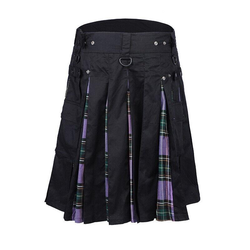 USA New Men's 5 Yard Scottish Kilts Tartan Kilt 13oz Highland Casual Kilt Purple