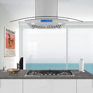 "30 and 36"" Cosmo Island Range Hood in Stainless Steel 900 cfm"
