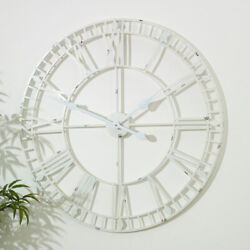 Large white skeleton wall clock iron industrial retro rustic wall decor gift