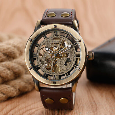 SHENHUA Men's Automatic Mechanical Skeleton Wrist Watch Leather Band Antique