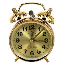 Home Mechanical Alarm Clock Manual Wind Up Vintage Metal Table Clock Gold