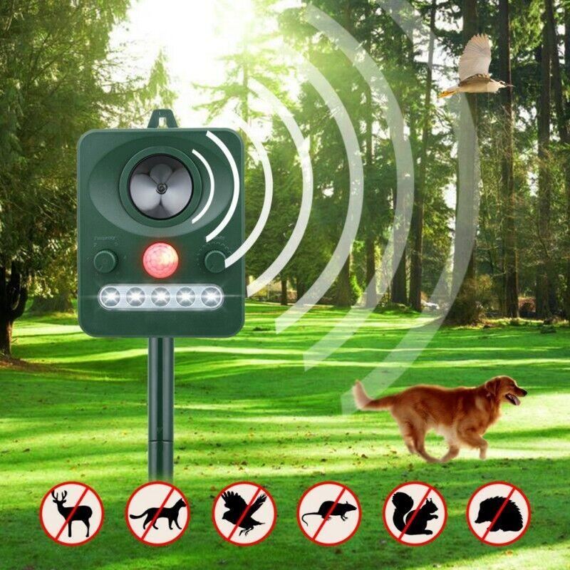 Solar Power Ultrasonic Animal Repeller Pest Repellent Cat De